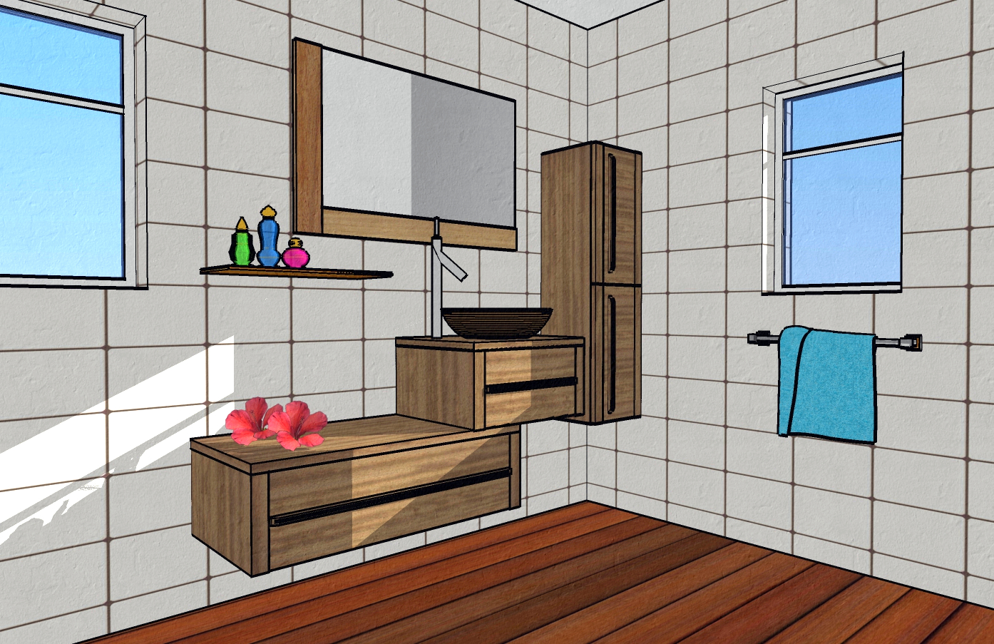 Initiation sketchup make for Plan de salle de bain 3d